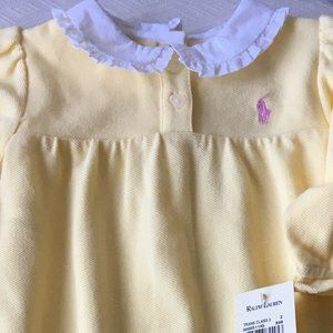 Ralph Lauen girls yellow onesie 6M New pink pony